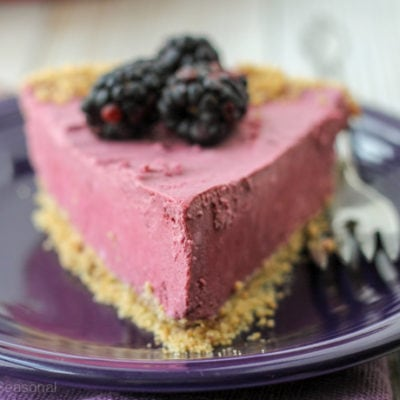 This Black Raspberry Cream Pie is cool, refreshing and creamy. Serve it frozen or allow it to thaw and enjoy the fluffy mousse filling!