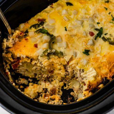 slow cooker breakfast burrito mixture in the crock