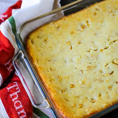 pan of golden cornbread casserole
