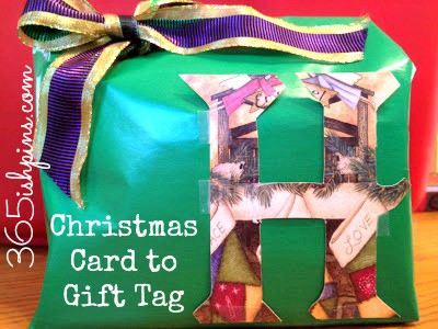 christmas card to gift tag