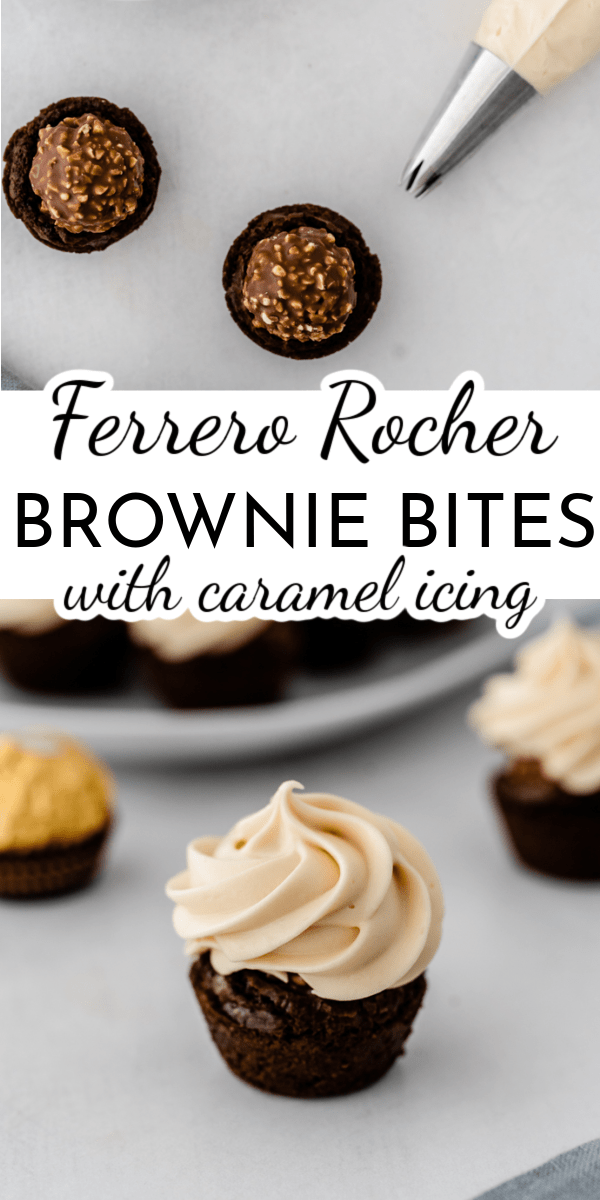 Ferrero Rocher Brownie Bites are the luxury version of brownies. The crunchy hazelnut candy in the middle of each bite adds decadence that is topped off with homemade caramel icing! via @nmburk