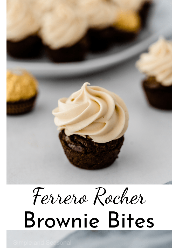 brownie bite with frosting in front of a plate of brownies; text label reads Ferrero Rocher Brownie Bites