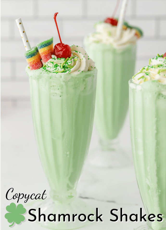 3 shakes topped with candy and whipped cream; text label reads Copycat Shamrock Shakes