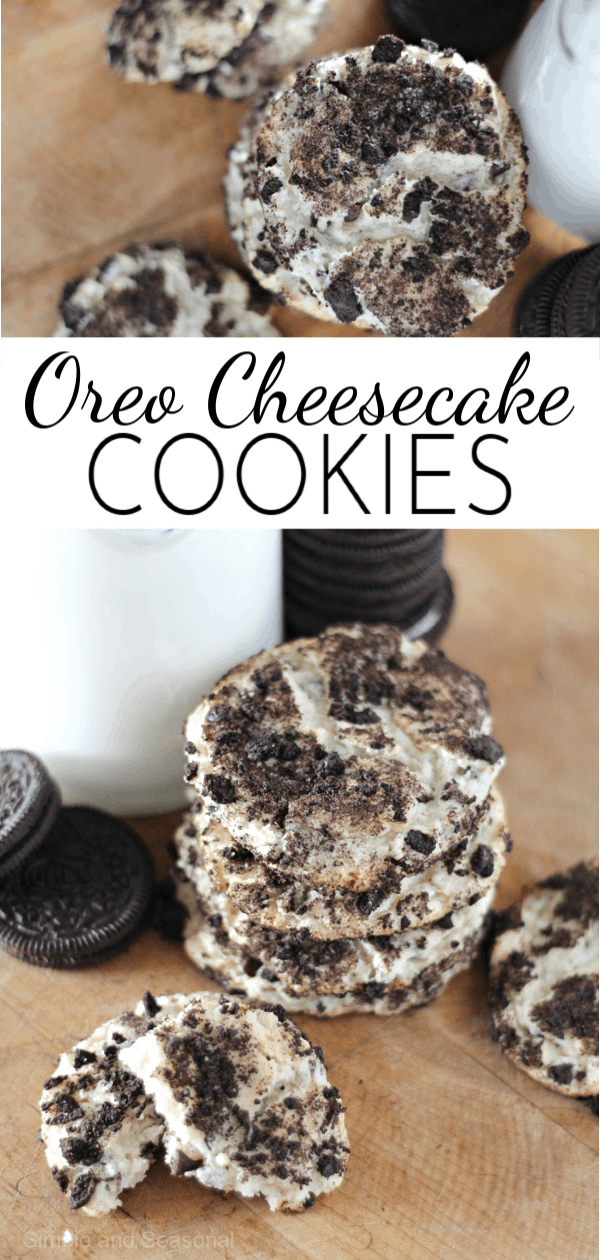 Bite through a crunchy chocolate and cream outer layer and you are rewarded with a soft, chewy, slightly cheesecake flavored filling with these Oreo Cheesecake Cookies!  via @nmburk
