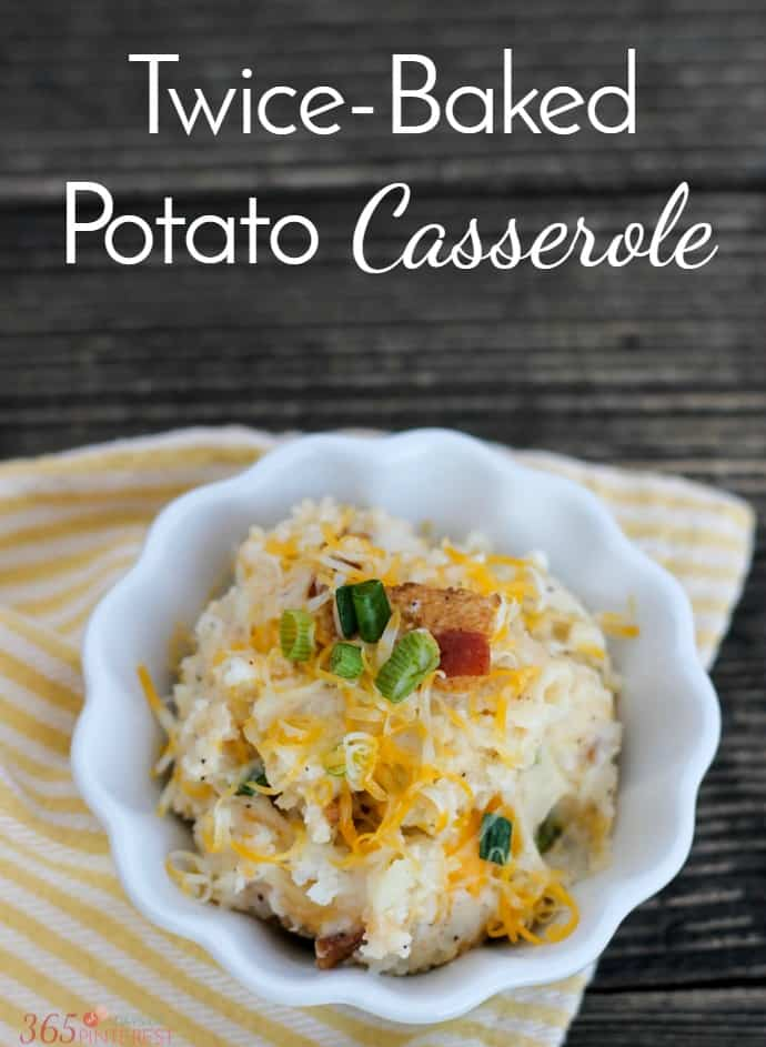 This Twice Baked Potato Casserole is like a loaded baked potato without all the work! Creamy mashed potatoes, bacon, cheese, green onions...you've got to try this! via @nmburk