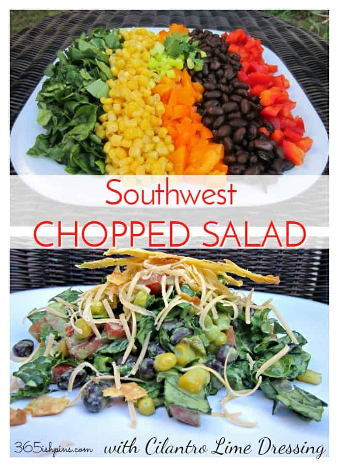 Bright colors and fresh flavors make this chopped salad a show stopper! Add the homemade creamy cilantro dressing for that southwestern flair. via @nmburk