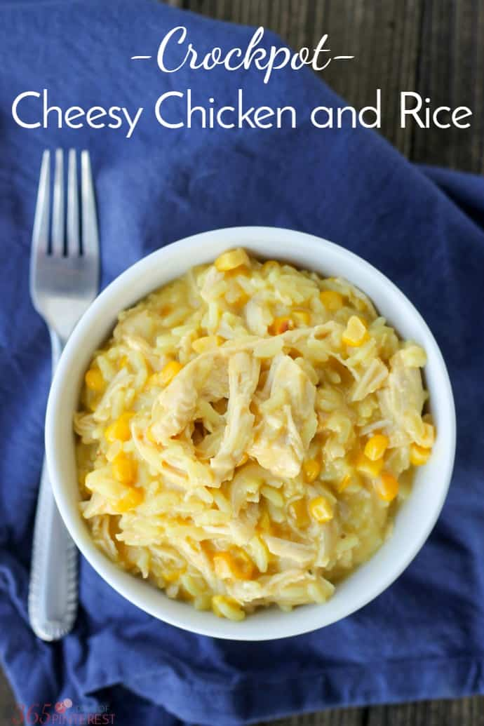 This Cheesy Chicken and Rice is made in the slow cooker and makes fantastic leftovers for lunch the next day!