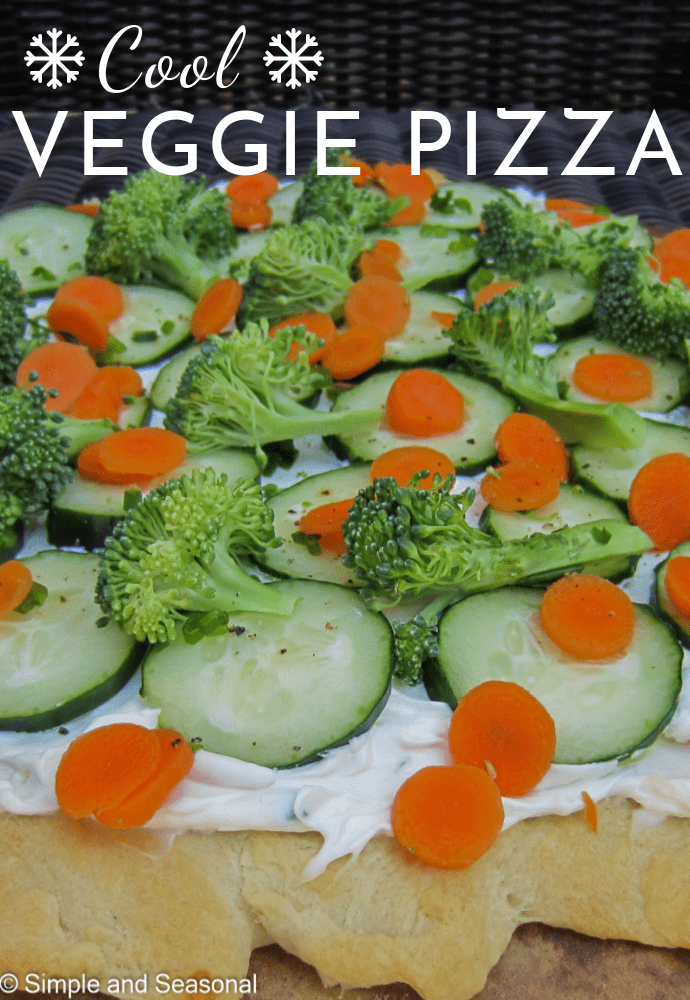 Serve the vegetables and dip all together with this easy and delicious Cool Veggie Pizza. It's a great appetizer! via @nmburk