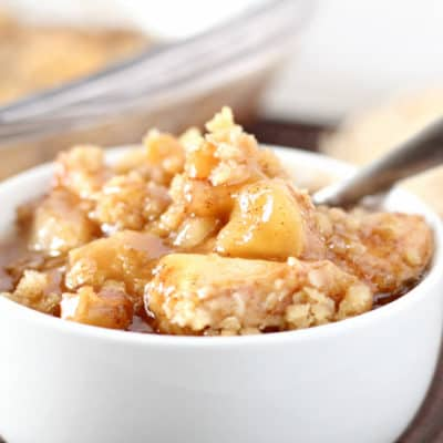 Warm, sticky apples covered with a delicious crumble, this Easy Apple Cobbler is the perfect fall dessert!