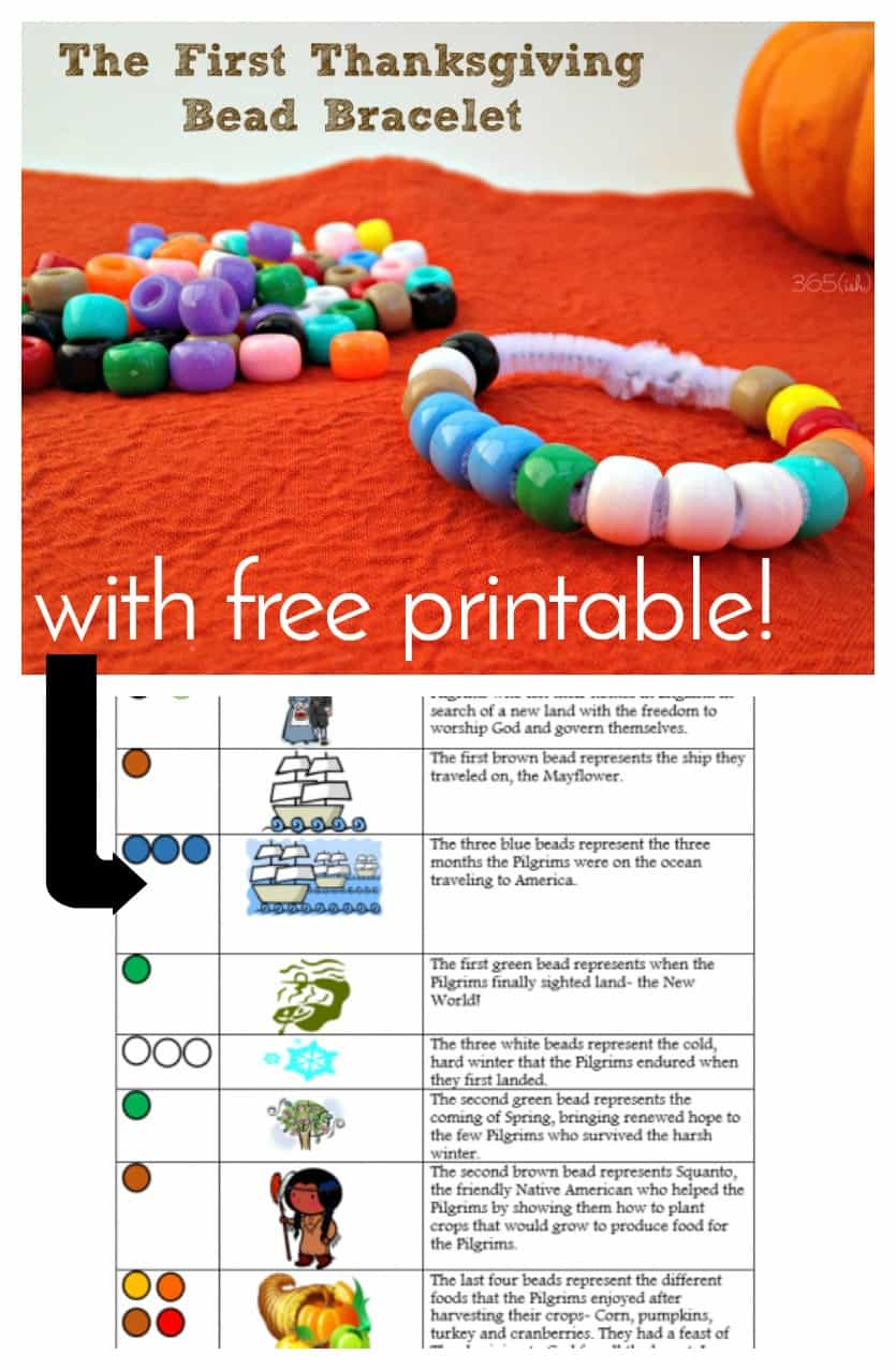 The First Thanksgiving Bead Bracelet is a great way to encourage conversation and reminds us to be thankful during this season of the year. Download the free printable to help kids tell the story! #Thanksgiving #BeadCrafts #KidsCraft #fall #Printable via @nmburk