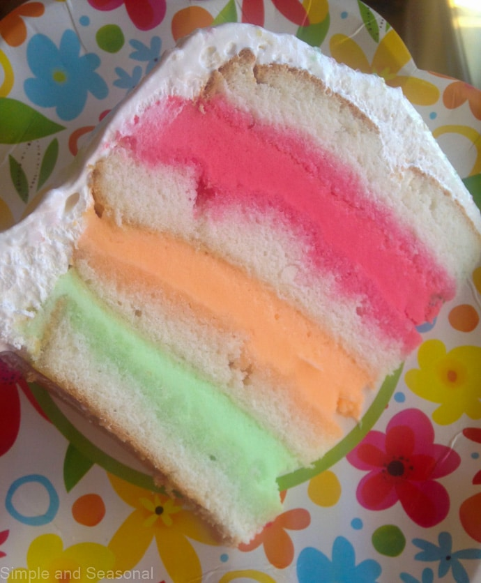 slice of white cake with 3 layers of sherbet
