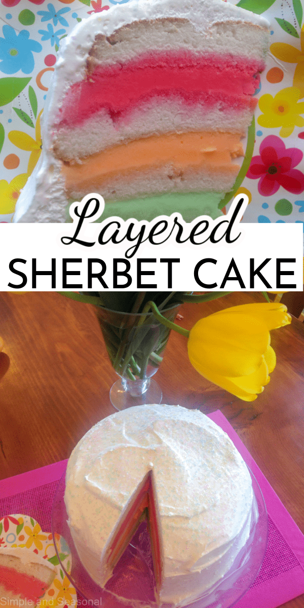 Start with a boxed cake mix and add layers of refreshing sherbet to create a beautiful and easy dessert. Layered Sherbet Cake is perfect for any spring or summer occasion! via @nmburk