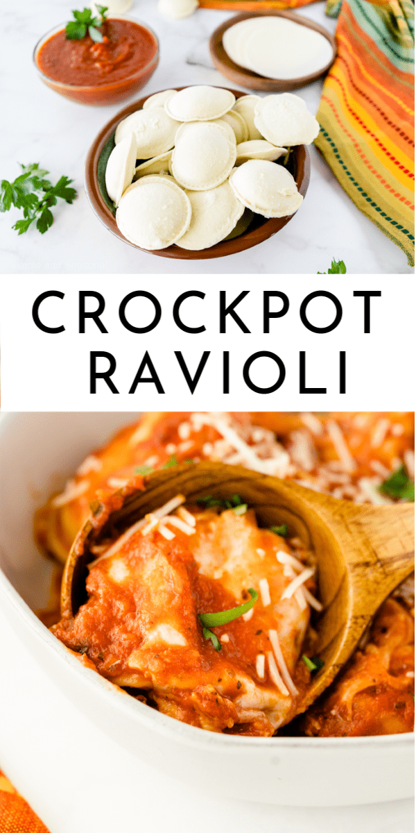 Crockpot Ravioli is possibly the easiest thing you could throw together for a meal without having to turn on the oven!  via @nmburk