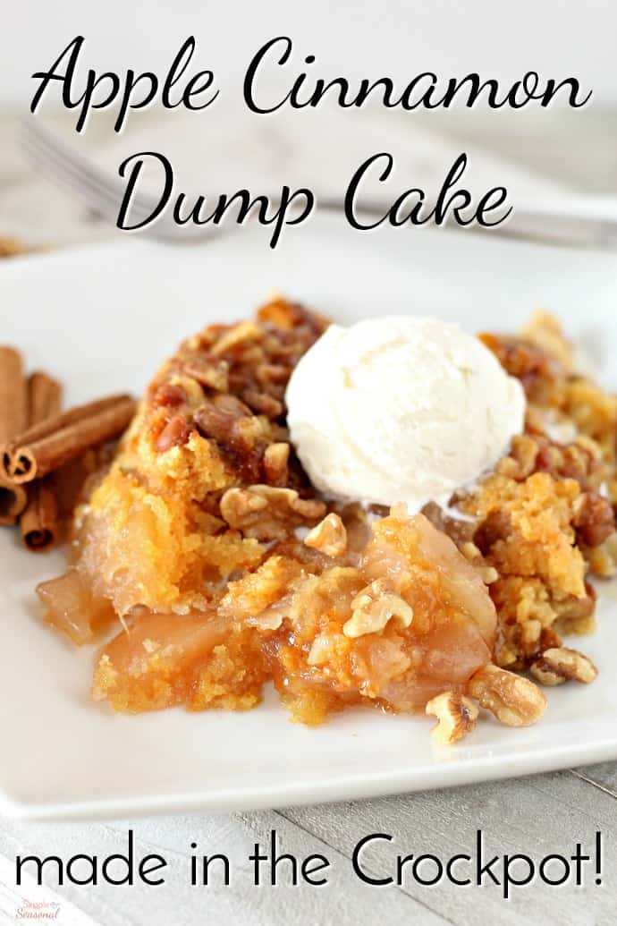 Only five ingredients go into this delicious Crockpot Apple Cinnamon Dump Cake. Bring it to the next potluck or holiday dinner-just don't forget the ice cream! via @nmburk
