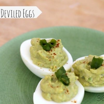 These Deviled Eggs are perfect for a low carb diet! Using avocado makes a smooth filling that's also a good, healthy fat. Bonus: they are great for Dr. Seuss Day. Green Eggs and Ham, anyone?