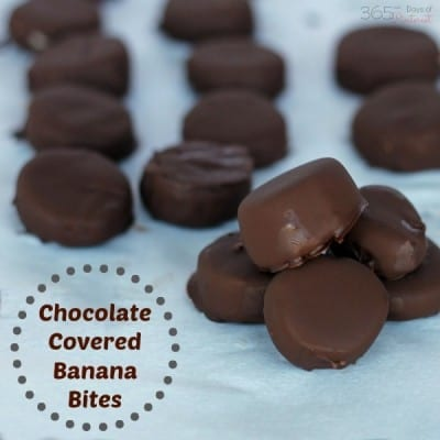Chocolate Covered Banana Bites are a sweet treat that won't ruin your diet! The crunchy chocolate shell tastes great around cold banana slices!