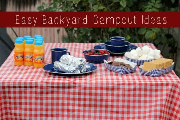 backyard camp out table labeled