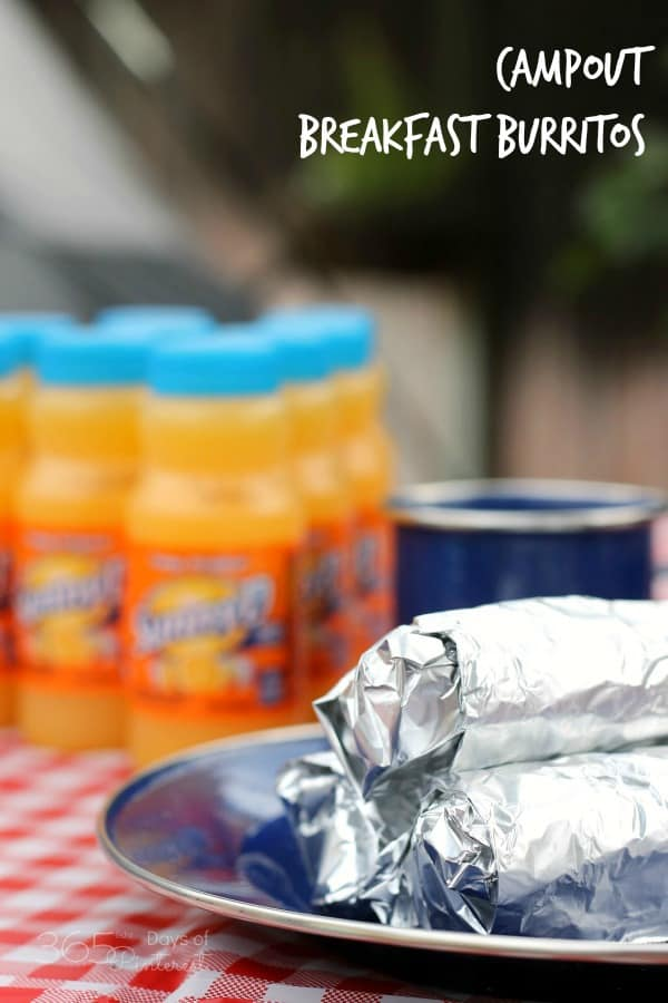 camp out breakfast burritos labeled