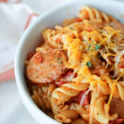 One of our family's favorite recipes, One Pot Pasta is both easy and delicious. Make it either on the stove top or in the pressure cooker for a meal ready in less than 30 minutes!