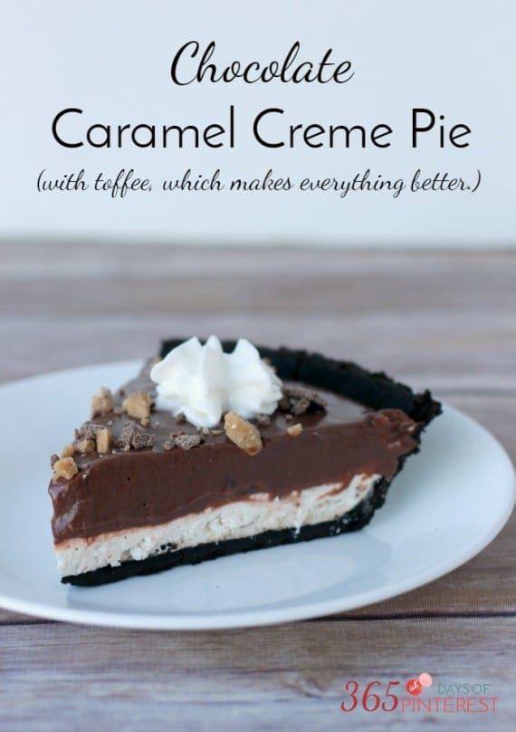 Chocolate Caramel Creme Pie with toffee