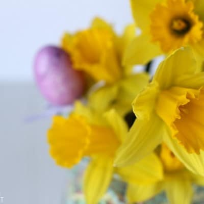 Add a fun pop of color to your table with this easy Easter centerpiece. It doesn't need any special tools or supplies and is done in minutes!