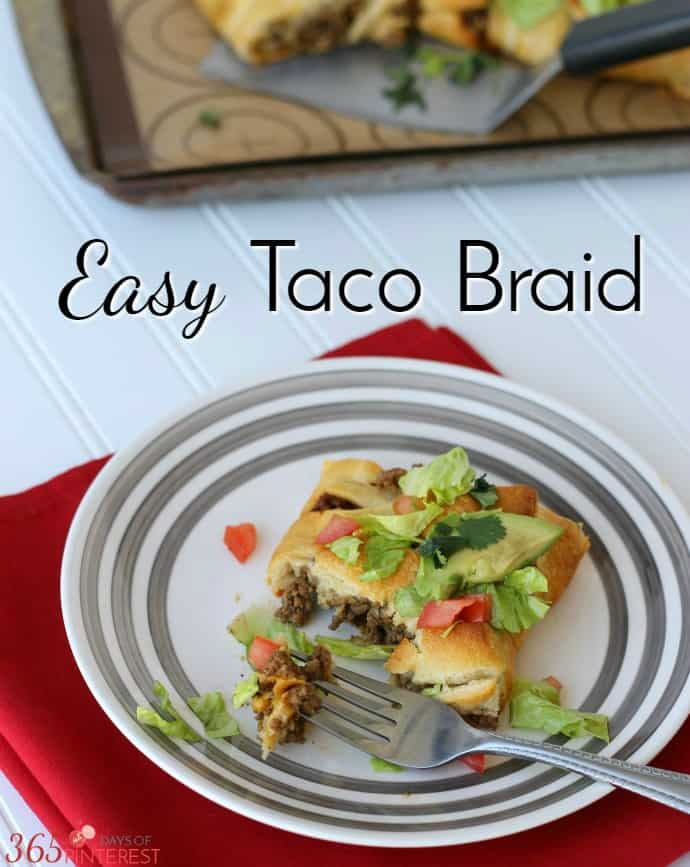 Spice up taco night in your house with an Easy Taco Braid! Stuffed full of delicious taco meat and creamy, melted cheese, it's a great twist on a classic. via @nmburk