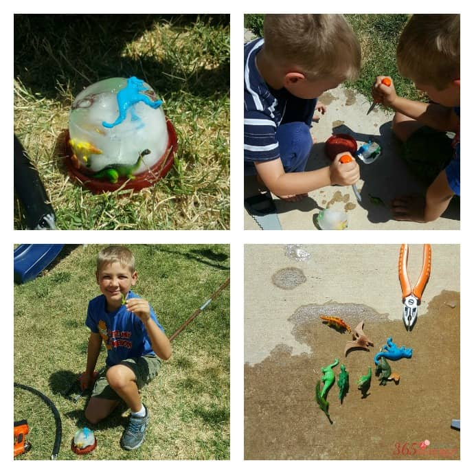 collage image of boys breaking toy dinosaurs out of ice
