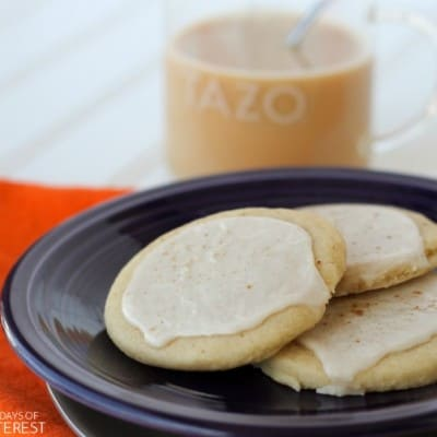 Enjoy a spicy and sweet escape with these easy-to-make Chai Glazed Shortbread Cookies and a mug of creamy chai latte!