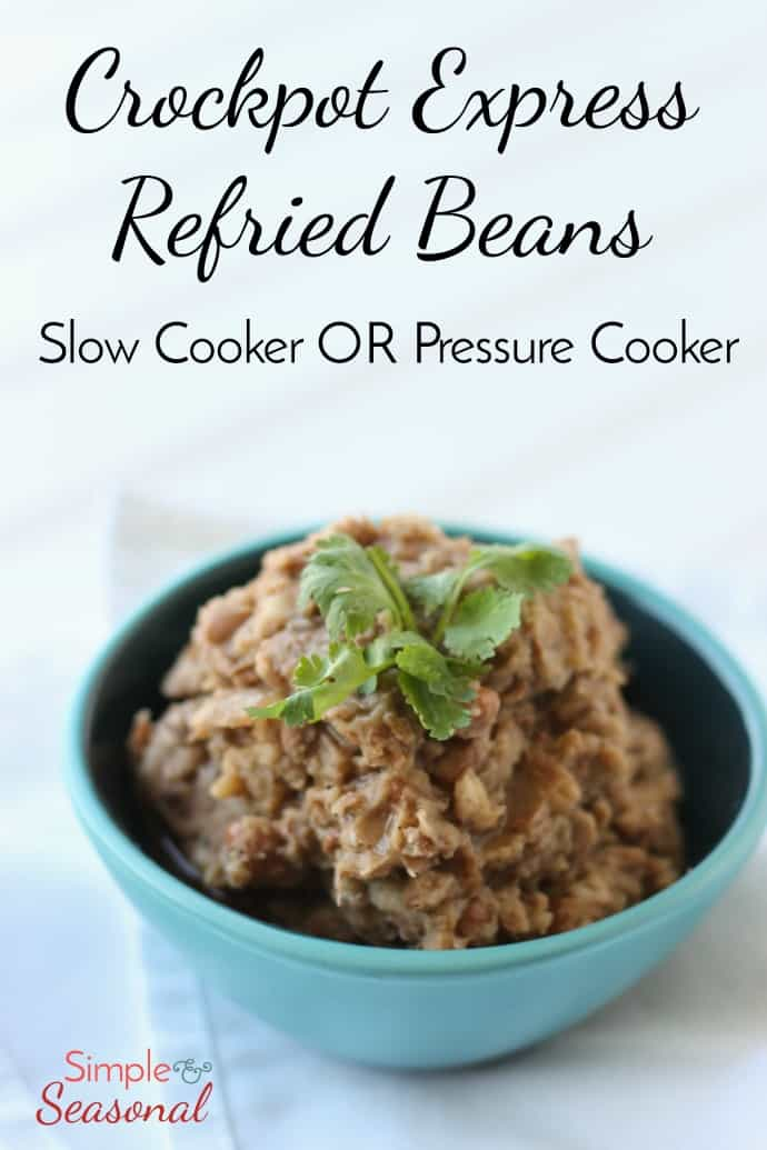 "These Crockpot Refried Beans are SO good (even if they aren't actually ""re-fried."" Make them in the slow cooker or the pressure cooker and the whole house smells amazing! #CrockpotExpress #PressureCooker #InstantPot #Beans via @nmburk"