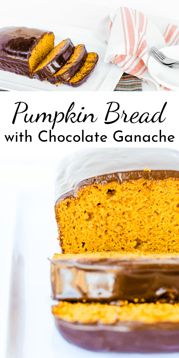 Welcome fall with a mild pumpkin bread made from scratch and covered with a glossy, rich chocolate ganache! via @nmburk