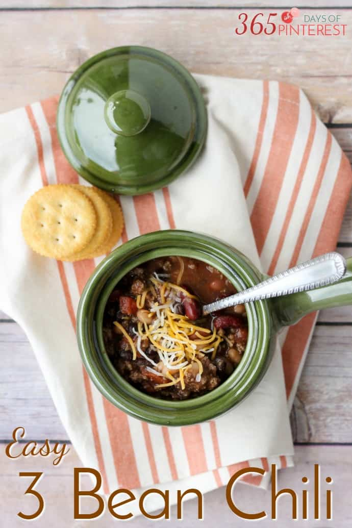 Cooler weather calls for hearty and comforting meals like this Three Bean Chili. It's a perfect meal for a busy weeknight! via @nmburk