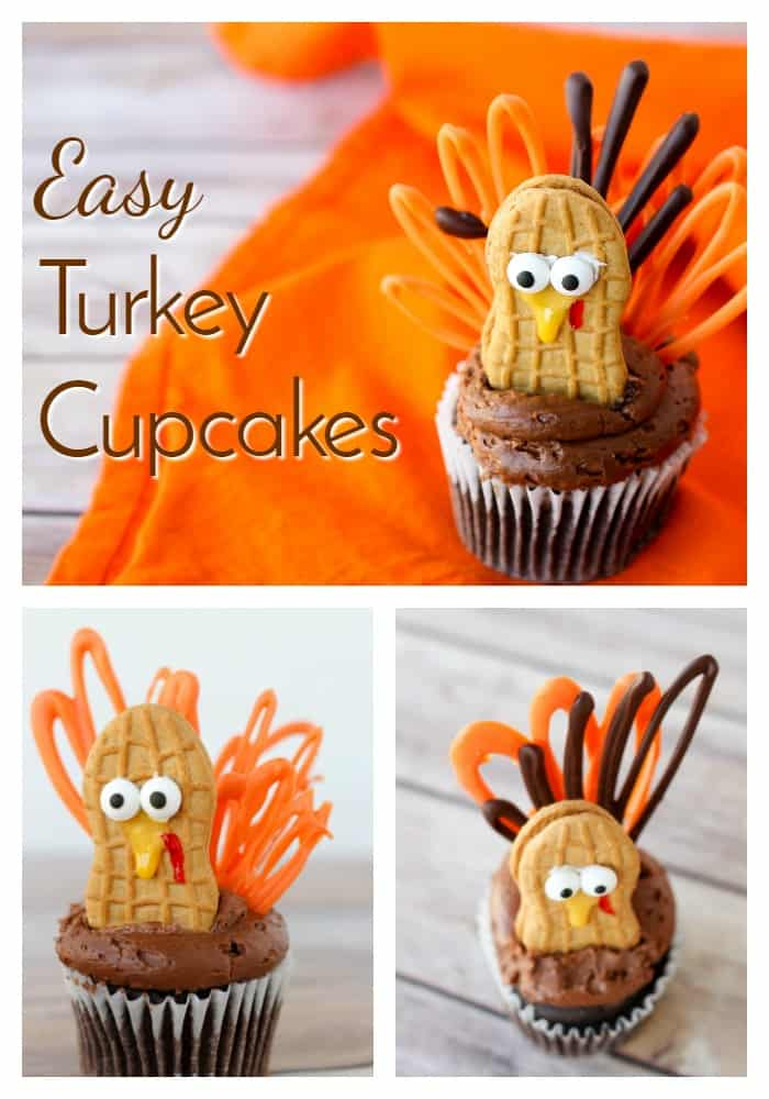 Celebrate Thanksgiving with these adorable little turkey cupcakes! Now you can have turkey for dessert, too! Quick and easy- the best! via @nmburk