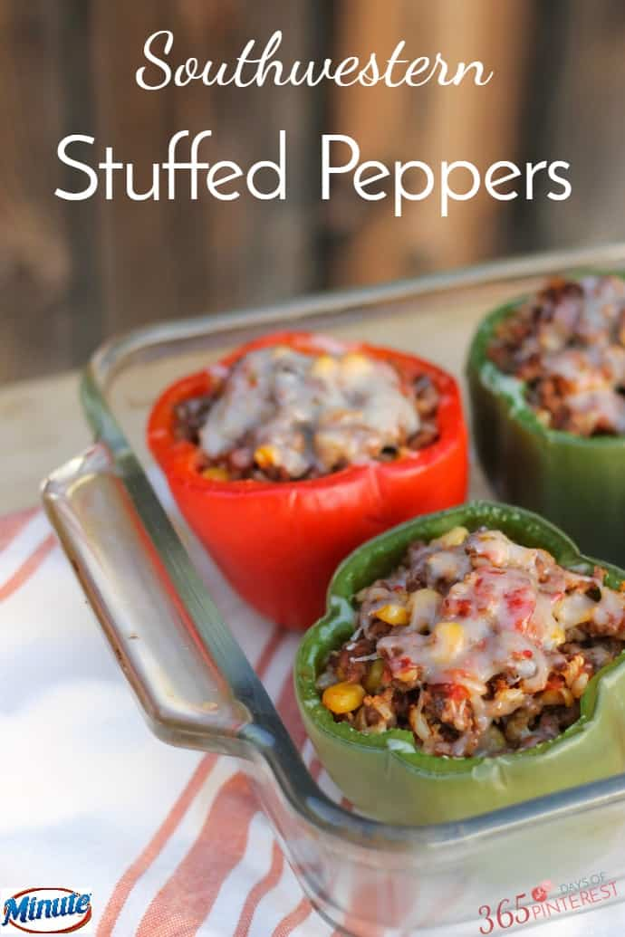 Brighten your table with holiday colors when you serve Southwestern Stuffed Peppers! It's the perfect comfort food for chilly winter nights. via @nmburk
