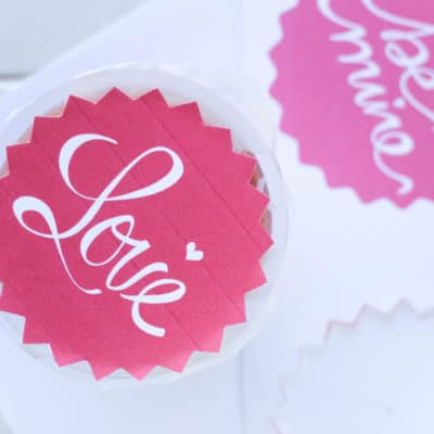 Share a fun and healthier Valentine's Day treat with these printable fruit cup toppers!