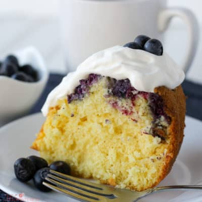 This Blueberry Lemon Pound Cake is quick and easy because it starts with a cake mix. But don't worry, no one will know! It's moist and packed with flavor thanks to the fresh blueberries.