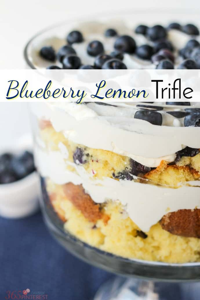 This pretty Blueberry Lemon Trifle was the result of a kitchen disaster, but you'd never know it! | easy dessert | stabilized whipped cream via @nmburk
