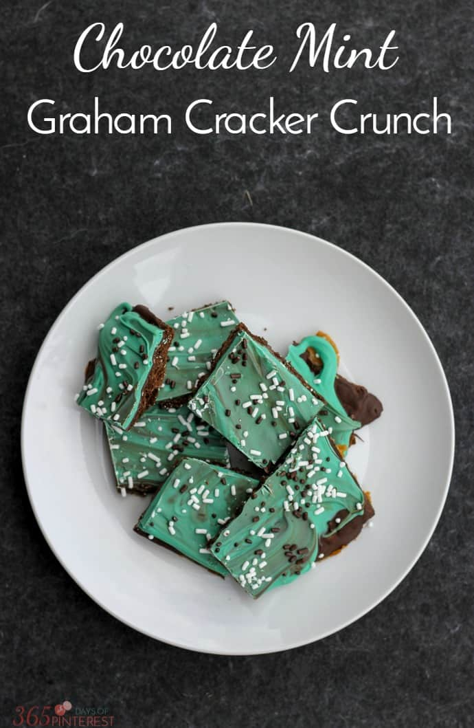 Chocolate Mint Graham Cracker Crunch is such an easy recipe to make and serves a crowd. It's a no-fail candy recipe perfect for holidays! #chocolatemint #chocolate #dessert #easyrecipe via @nmburk