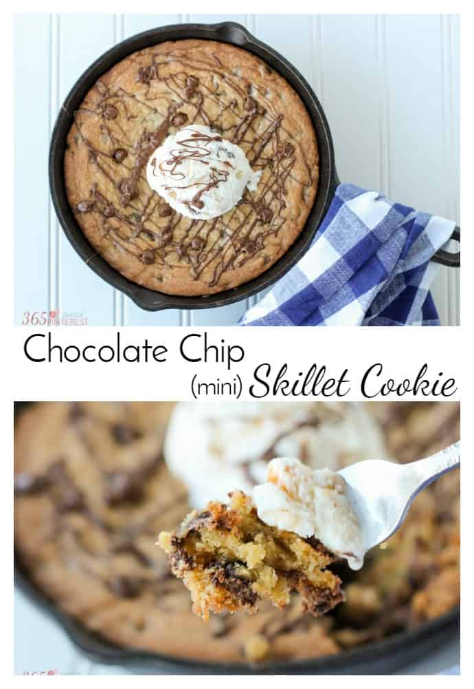 "Indulge in a little ""me time"" with this decadent Chocolate Chip Skillet Cookie! Crispy on the edges, soft and chewy in the middle, it's the perfect sweet treat. via @nmburk"