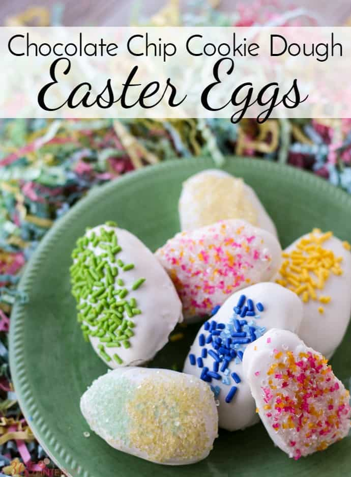 You don't need the Easter bunny when you can make your own (way better) Chocolate Chip Cookie Dough Eggs with this edible cookie dough recipe and some festive decorations! via @nmburk