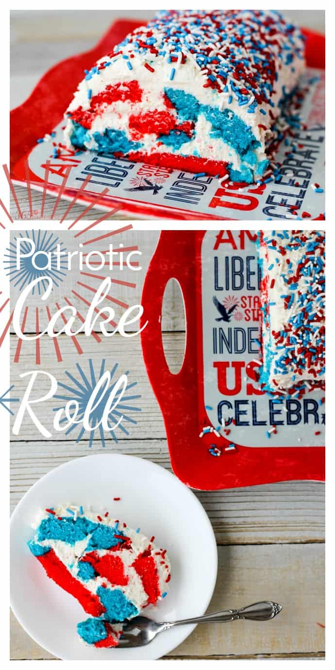 This red, white and blue Patriotic Cake Roll is filled and frosted with a sweet, creamy filling and is perfect for 4th of July or Memorial Day picnics!  via @nmburk