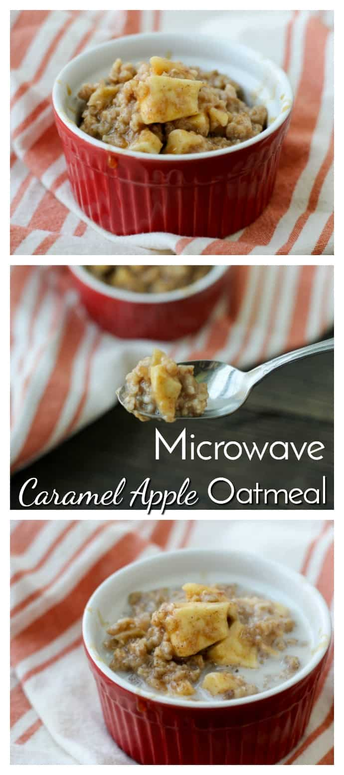 Quick, easy and bursting with flavor, Microwave Caramel Apple Oatmeal is the perfect breakfast for busy mornings!  via @nmburk