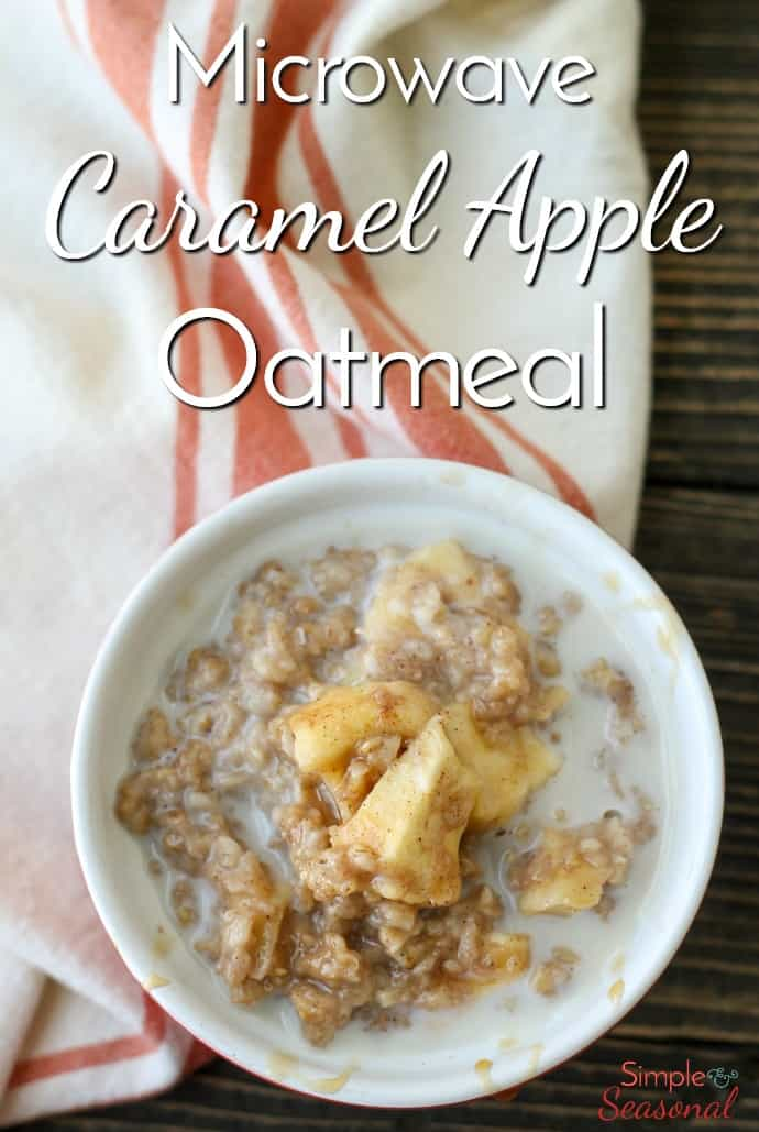 Quick, easy and bursting with flavor, Microwave Caramel Apple Oatmeal is the perfect breakfast for busy mornings!