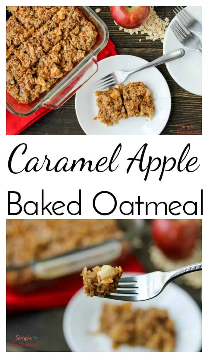 Start your morning off right with this hearty and delicious Caramel Apple Baked Oatmeal recipe. It's filled with apple chunks and caramel-the perfect fall breakfast! via @nmburk