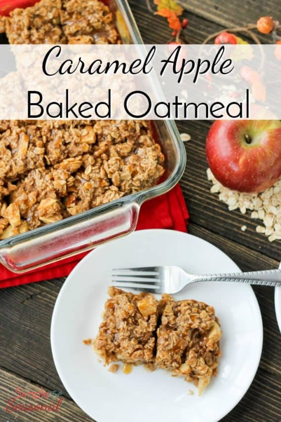 Start your morning off right with this hearty and delicious Caramel Apple Baked Oatmeal recipe. It's filled with apple chunks and caramel-the perfect fall breakfast!