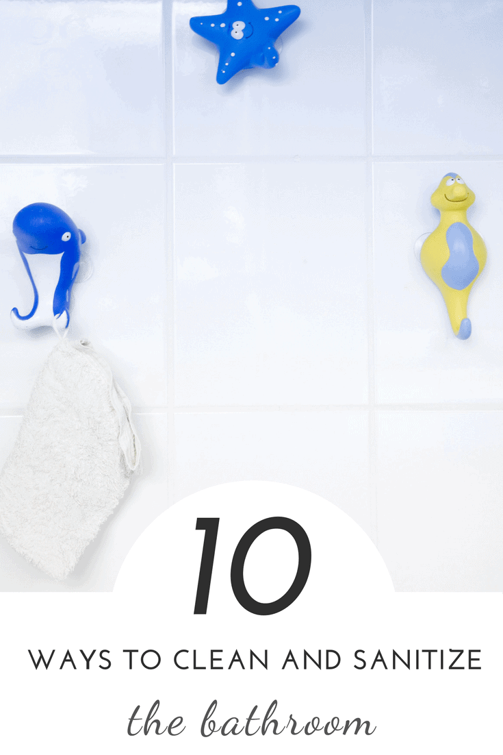 Getting ready for guests to arrive? These 10 simple tips will help you have a clean bathroom that sanitized from top to bottom! #cleaningtips #clean #bathroom #cleaninghacks #cleaners via @nmburk