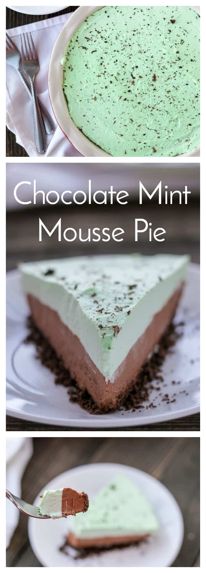 Chocolate crust, creamy chocolate mousse and mint cream topping all come together to make this beautiful Chocolate Mint Mousse Pie! #EasyRecipe #Chocolate #Pie #ChocolateMint #Dessert  via @nmburk