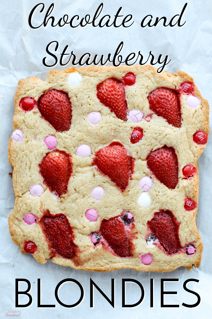 These Chocolate Strawberry Blondies are perfect for any celebration! The sweet cookie dough base is full of chocolaty goodness and the strawberries on top keep it fresh and a little tart. Strawberries and chocolate belong together any time of the year! #ValentinesDayDessert  #ValentinesDay #Chocolate #Dessert #CookieBar #Blondies via @nmburk