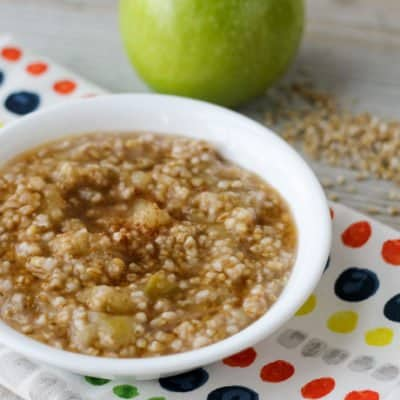 Start the morning right with this delicious and healthy Crockpot Express Apple Oatmeal! Use steel-cut or rolled oats in the pressure cooker (Crockpot Express/Instant Pot) for a quick breakfast. Ready in 20 minutes from preheat to pressure release, this is perfect for busy mornings!