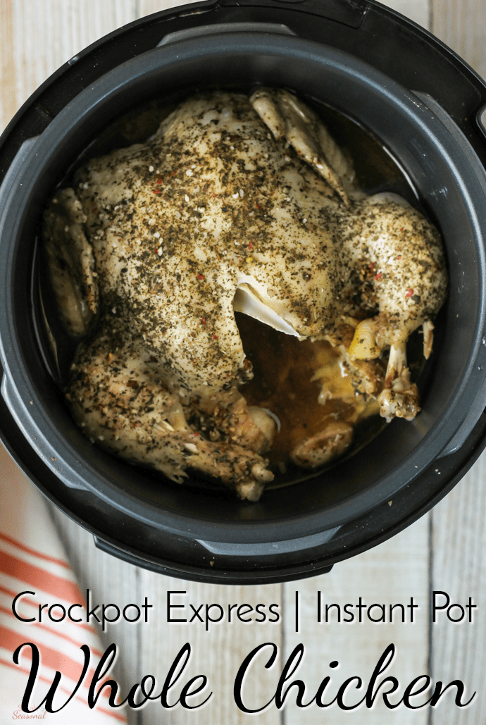 Whether you want a whole rotisserie chicken for dinner or need to do some batch cooking for the week's meal plan, this Crockpot Express Whole Chicken is the best way to get it done. It works in the Instant Pot or other pressure cookers, too! #CrockpotExpress #InstantPot #PressureCooker #ChickenRecipe via @nmburk