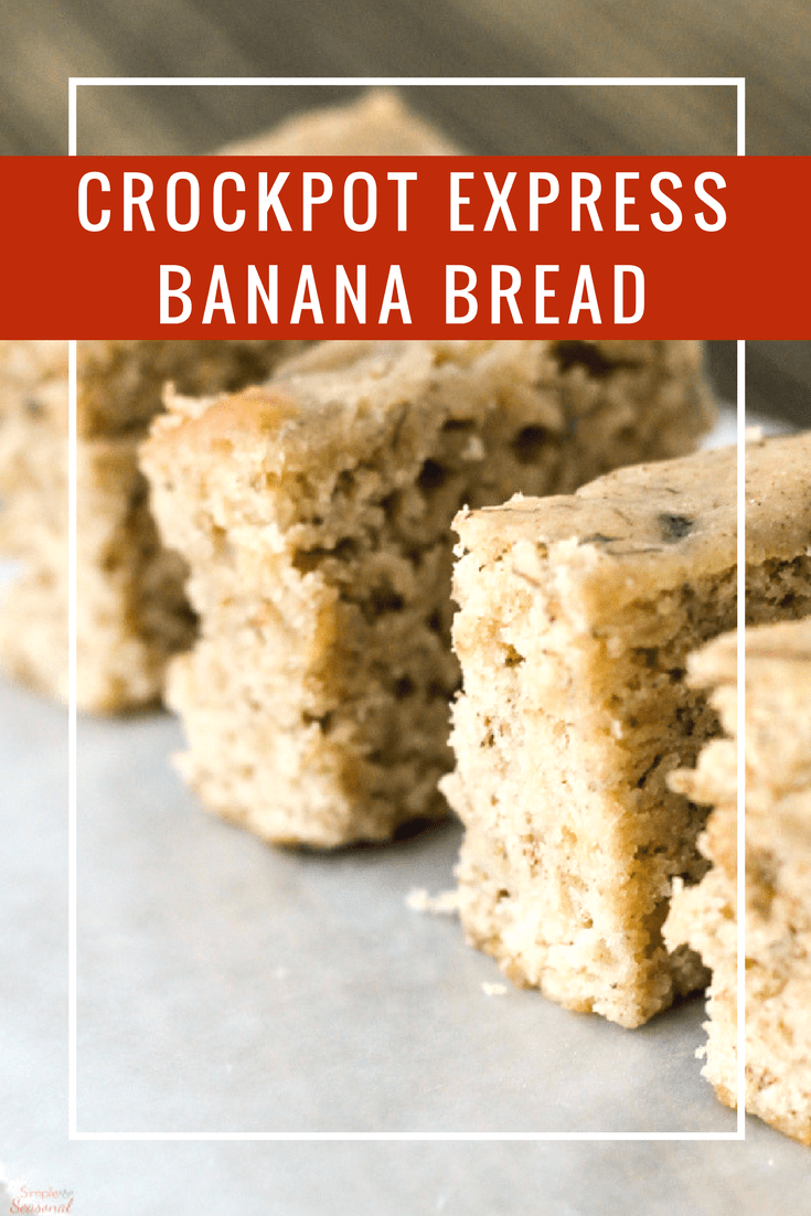 Use up those overripe bananas without heating up the whole house! Crockpot Express Banana Bread is ready in about half the time of a normal loaf, and tastes great. #CrockpotExpress #PressureCooking #BananaBread #CrockpotExpressRecipe #CPE via @nmburk